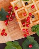 Вафли украшенные с красными смородинами на деревянной предпосылке Стоковые Изображения RF