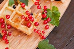 Вафли украшенные с красными смородинами на деревянной предпосылке Стоковое Фото