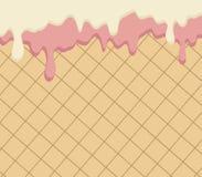 Вафля и пропускать белые и розовые шоколад, сливк или йогурт иллюстрация штока