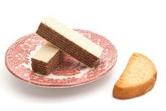Вафли на блюде и шутихе Стоковая Фотография RF