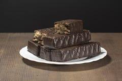 Вафли шоколада на черной предпосылке Стоковое Изображение RF