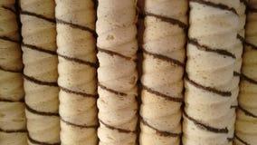 Вафля свертывает ванильный вкус стоковое фото