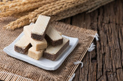 Вафля с сливк шоколада и молока Стоковые Фото