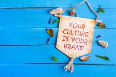 Ваша культура ваш текст бренда на бумажном перечене стоковые фотографии rf