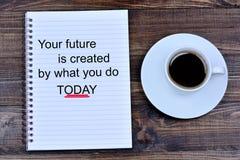 Ваше будущее создано что вы сегодня отправляете СМС на тетради стоковое фото rf