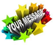 Ваше сообщение в потехе возбуждая фейерверки Starburst Стоковое Фото