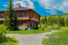 Вашингтон, США, центр для посетителей восхода солнца 29-ое июля 2012 Красивый деревянный дом на луге Mt Деревья и трава Стоковые Изображения