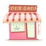 Ваш ретро вектор дома значка магазина изолированный шаржем Стоковые Изображения