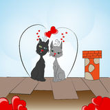 Валентайн влюбленности чертежа дня котов совершенное Стоковая Фотография