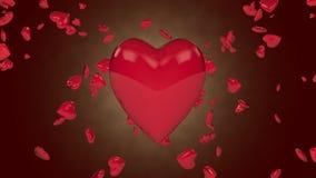 Валентайн иллюстрации s сердец летания дня сток-видео