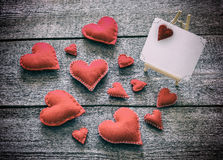 Валентайн красного цвета сердец карточки Стоковое Изображение RF