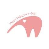 Валентайн дня счастливое s Розовый слон с сердцем в его наблюдает Стоковое Изображение