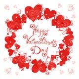 Валентайн дня счастливое s Vector рамка с сердцами для поздравительных открыток, приглашений, плакатов Стоковые Фотографии RF