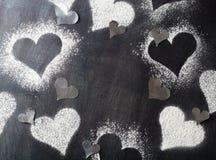 Валентайн дня s карточки Снег сердец контуров Стоковое Изображение RF