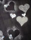 Валентайн дня s карточки Снег сердец контуров Стоковая Фотография RF