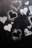 Валентайн дня s карточки Снег сердец контуров Стоковые Изображения RF