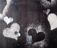 Валентайн дня s карточки Снег сердец контуров Стоковые Фотографии RF