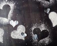 Валентайн дня s карточки Снег сердец контуров Стоковое Фото
