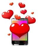 Валентайн пинка телефона сердец клетки Стоковые Фото