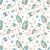 Валентайн предпосылки безшовное Картина влюбленности плитки Проиллюстрированная вектором бесконечная сладостная текстура упаковоч Стоковая Фотография RF
