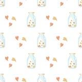 Валентайн предпосылки безшовное Картина влюбленности плитки Проиллюстрированная вектором бесконечная сладостная текстура упаковоч Стоковое Фото