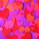Валентайн сердец красное s золота дня предпосылки цветастая бумага сердец Стоковые Изображения
