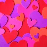 Валентайн сердец красное s золота дня предпосылки цветастые сердца Стоковые Фото