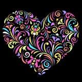 Валентайн сердца предпосылки черное Стоковое Фото