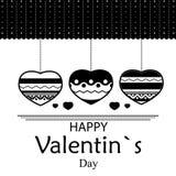 Валентайн любовников s приветствию дня принципиальной схемы карточки черная белизна картины Стоковая Фотография RF