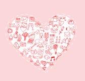 Валентинка, значки влюбленности, иллюстрация вектора Стоковые Изображения RF