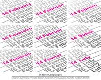 Валентинка дня в 9 языках иллюстрация штока