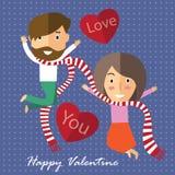 Валентинка пар счастливая Стоковое Изображение RF