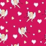 Валентинка с херувимами и сердцами Стоковая Фотография