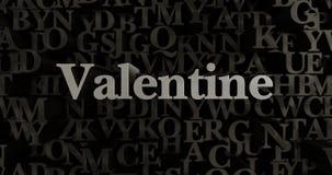 Валентинка - 3D представило металлическую typeset иллюстрацию заголовка Стоковое Изображение
