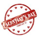 Валентинки выдержанной сердца круга штемпеля дня красным цветом иллюстрация вектора