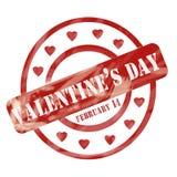 Валентинки выдержанной штемпель дня красным цветом объезжает сердца бесплатная иллюстрация