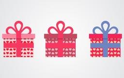 Валентинки значков подарочных коробок вектора иллюстрация штока