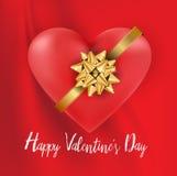 Валентинки сердце и золото обхватывают белый текст на, который струят красное silk сказочном иллюстрация штока