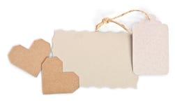 2 валентинки с пустой карточкой подарка на белой предпосылке Стоковые Изображения