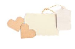 2 валентинки с пустой карточкой подарка на белой предпосылке Стоковое Фото