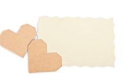 2 валентинки с пустой карточкой подарка для текста Стоковые Изображения