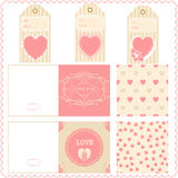 Валентинки элементов Scrapbook для дизайна vector бирки картин Стоковая Фотография