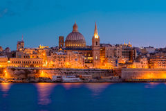 Валлетта к ноча, Мальта стоковая фотография