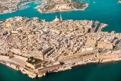 Валлетта, столица Мальты от гавани самолета взгляда, c Стоковая Фотография RF