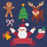 вал темы снеговика саней santa настоящих моментов изображений эльфа claus рождества коробок установленный иллюстрация штока