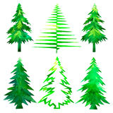 валы рождества установленные Покрашенная рука акварели деревьев зеленого цвета времени рождества Стоковая Фотография
