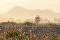 валы силуэта утра ландшафта дома тумана Стоковое Изображение