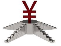 валюта иен 3D на подиуме Стоковое Изображение RF