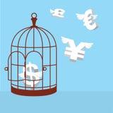 Валюта свободных денег Раскройте клетку с деньгами летания Стоковая Фотография