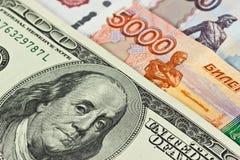 Валюта: США и русский стоковое фото